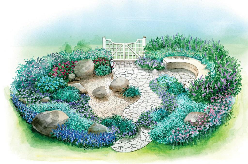 Гравийный хвойный сад