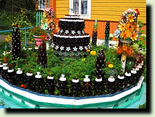 Украшения для двора из пластиковых бутылок своими руками