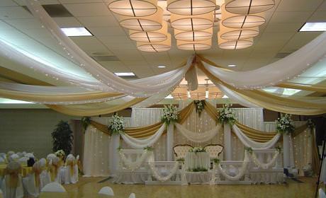 Оформление зала тканями. Оформление тканью свадебного зала