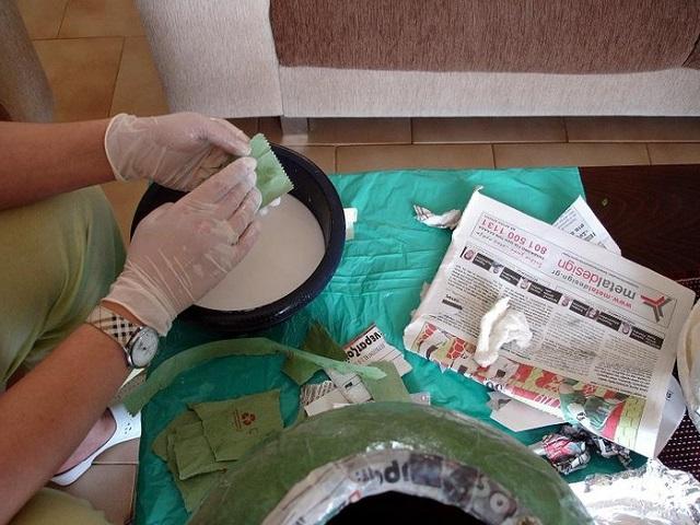 Процесс изготовления в технике папье-маше
