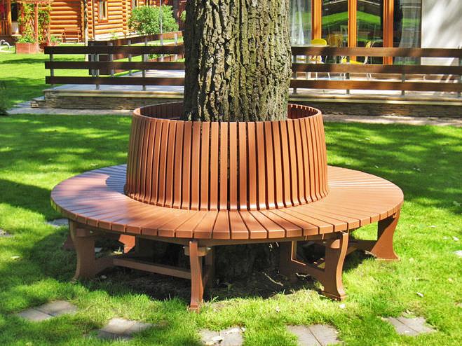 Садовая скамейка круговая своими руками