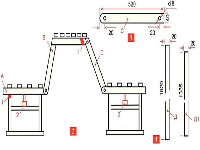Чертежи скамейки трансформер