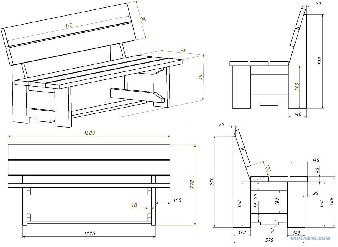 Деревянная скамья своими руками с чертежами