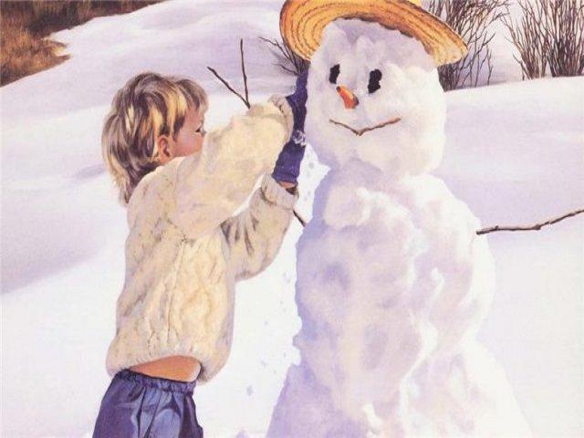 Как лепить снежную бабу