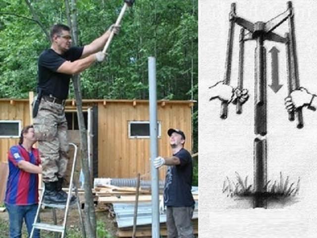Как вкопать столбы для железного забора?