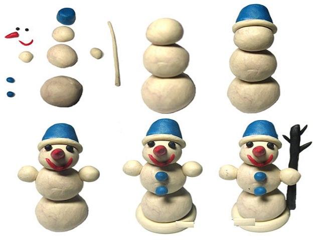 Лепим с детьми снеговика из пластилина