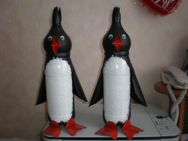 Пингвин из пластиковых бутылок своими руками фото