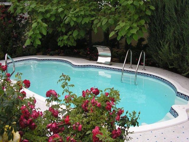 Фигурный бассейн во дворе