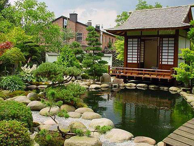 Дом и пруд на участке в японском стиле