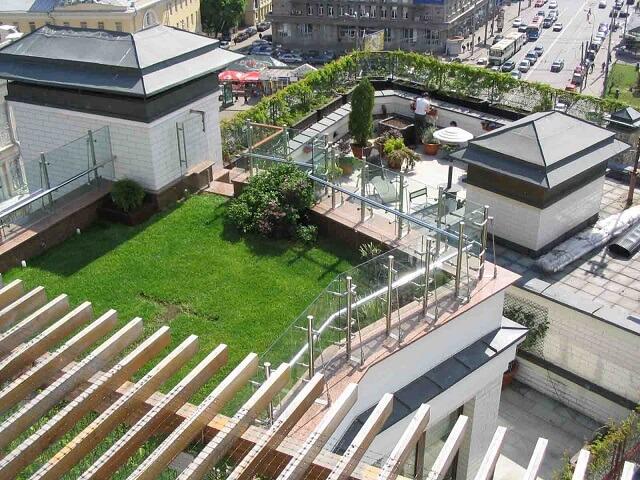 Зеленый газон - озеленение крыши