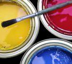 Интерьерная водоэмульсионная краска и кисть