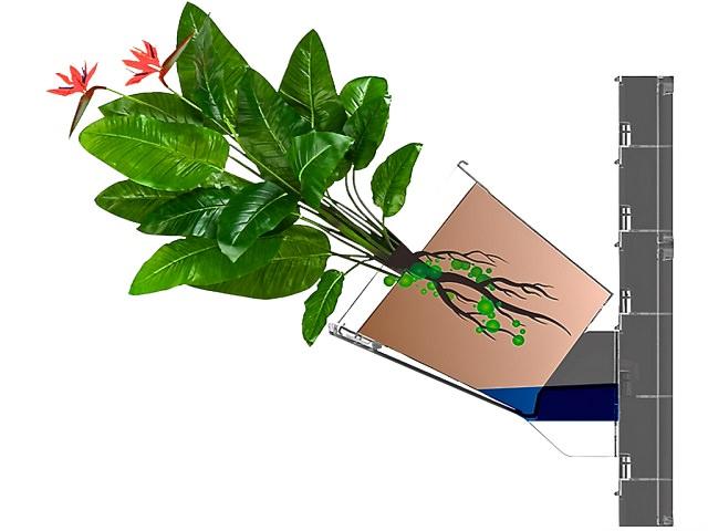 Схема крепления горшка в системе вертикального озеленения Green Sky