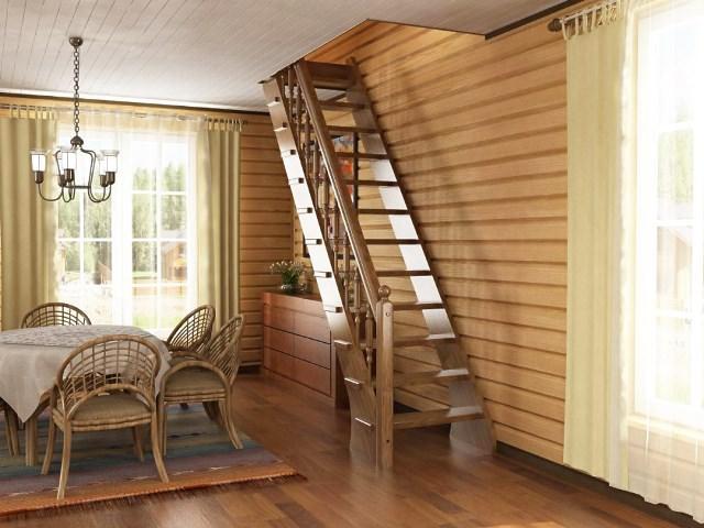 Деревянная лестница на даче на второй этаж своими руками