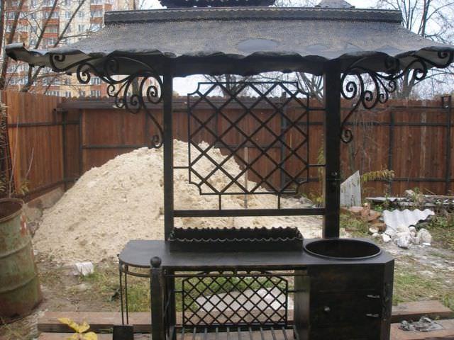 Барбекю из металла с крышей фото дача барбекю фото