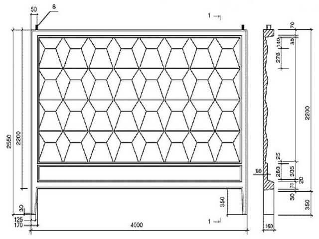 Размеры для забора из бетона