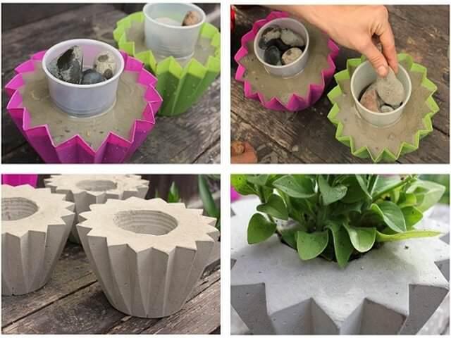 Вазоны бетонные в саду