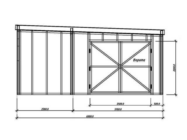 Гараж из профильной трубы с односкатной крышей