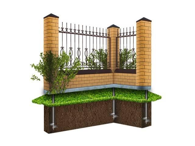 Кирпичный забор с металлической отделкой